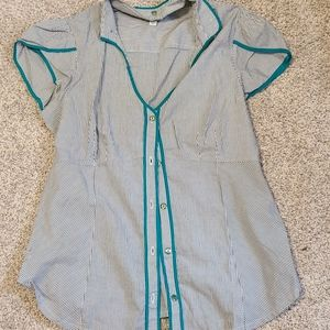 Odille Anthropologie 12 L Teal Blue Striped Blouse
